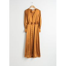 Belted Satin Maxi Dress - Yellow