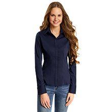 oodji Collection Damen Tailliertes Baumwoll-Hemd, Blau, DE 42/EU 44/XL