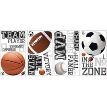 RoomMates Wandsticker All Stars Sports Sayings, 24-tlg. mehrfarbig