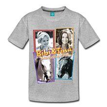 Spreadshirt Bibi Und TinaTohuwabohu Total Sabrina Collage Kinder Premium T-Shirt, 134/140 (8 Jahre), Grau meliert