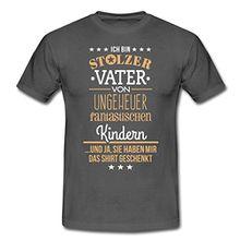Spreadshirt Vatertag Stolzer Vater Ungeheuer Fantastische Kinder Männer T-Shirt, XL, Graphite