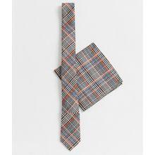 ASOS DESIGN – Karierte Krawatte und Einstecktuch und Orange und Blau-Mehrfarbig