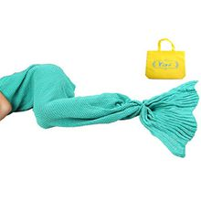 Yier® Mermaid Tail Adult Decke Häkelarbeit Teens Jugendliche Wohnzimmer Sofa super weiche Decken Schlafsack -grün