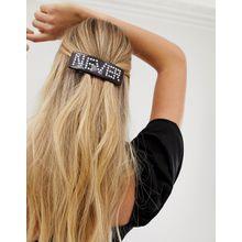 ASOS DESIGN - Haarspange in Schildplattoptik mit perlenverziertem Schriftzug - Mehrfarbig
