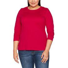 Ulla Popken Große Größen Damen Basic Langarmshirt Rundhals Rot (Rot 57), 60 (Herstellergröße: 58+)