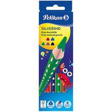 Dickkern-Buntstifte SILVERINO, Dreiecksform, 6 Farben bunt
