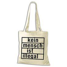 Baumwolltasche Jutebeutel Kein Mensch ist illegal Stoffbeutel NEU, Größe:38x42cm;Baumwolltasche:natur