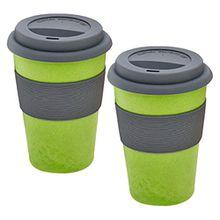 """2er Set Magu Kaffeebecher für unterwegs """"Coffee to Go"""" grün Bambus Natur-Design, Trinkbecher mit Silikondeckel, 130 465"""