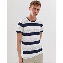 Selected Homme - T-Shirt mit Streifenprint aus Bio-Baumwolle - Navy