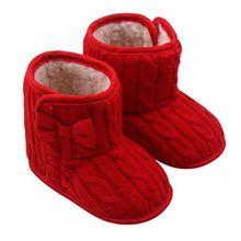 Kinder schuhe , Kobay Baby Bowknot Weiche Sohle Winter Warme Schuhe Stiefel (11 / 3-6Monate, Rot)
