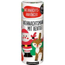 100% selbst gemacht: Weihnachtsmann mit Rentier, 2 Weihnachtsanhänger