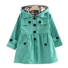 Free Fisher Kinder Mädchen Klassischer Trenchcoat Übergangsjacke mit abnehmbarer Kapuze, Grün, Gr. 116 ( Herstellergröße: 120)