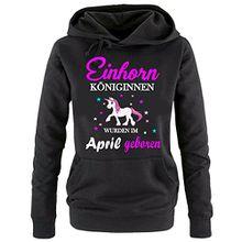 Einhorn Königinnen wurden im April geboren ! Damen HOODIE Sweatshirt mit Kapuze SCHWARZ, Gr.S