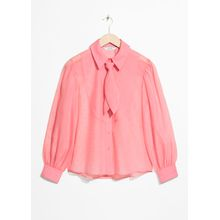Sheer Collared Tie Blouse - Pink