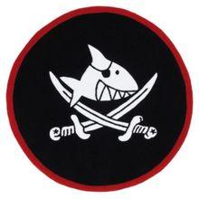 Spiegelburg Kinderteppich Capt`n Sharky, rund, schwarz, 130 cm schwarz/rot