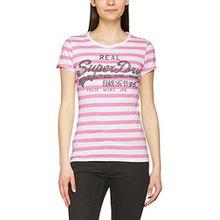 Superdry Damen T-Shirt Vintage Logo Stripe, Grün (Fluro Pink Stripe), Gr. 40 (Herstellergröße: Medium)
