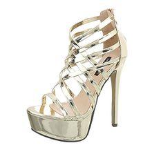 Ital-Design High Heel Sandaletten Damen-Schuhe High Heel Sandaletten Pfennig-/Stilettoabsatz High Heels Reißverschluss Sandalen & Sandaletten Gold, Gr 37, Xk-0035-