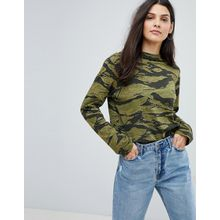 Mih Jeans - Oversize-Jersey-Top mit Military-Muster - Grün