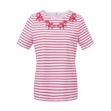Peter Hahn Rundhals-Shirt Rundhals-Shirt rot / weiß