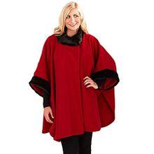 Damen Umhang Boutique Damen Neu Fleece Rand Kunstpelz Umhängetuch Poncho Mantel - Rot, Einheitsgröße