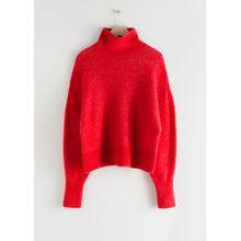 Soft Wool Blend Turtleneck Sweater - Red