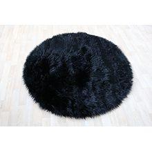 Fell Teppich Schaffell Lammfell Imitat Kunstfell Dekofell MIA bei 30 Grad waschbar aus 100% Polyester (120 cm Rund, schwarz 040)