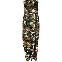 WearAll - Damen Bedruckt Gerafft Ärmellos Bandeau Maxikleid - Camouflage - 36-38
