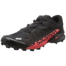 Salomon Unisex-Erwachsene L39122100 Trekking-& Wanderhalbschuhe, Schwarz (Black/Racing Red Black/Racing Red), 44 2/3 EU