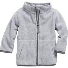Schnizler Unisex Baby Jacke Fleecejacke, Babyjacke mit Kontrastnähten, Grau (Grau/Melange 37), 74