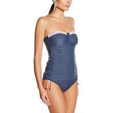 ESPRIT Bodywear Damen Bandeau Bikinioberteil NEWPORT BEACH, Gepunktet, Gr. 36, Blau (NAVY 400)