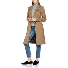 VERO MODA Damen Mantel Vmblaza Long Wool Jacket, Beige (Tigers Eye), 36 (Herstellergröße: S)