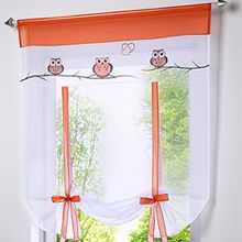 Souarts Eule Stickblume Gardine Raffgardinen Vorhang Raffrollo Deko für Wohnzimmer Schlafzimmer Studierzimmer 100*140cm(B*H)