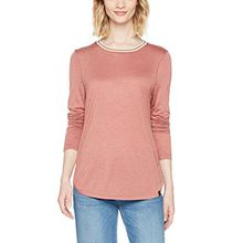 Scotch & Soda Maison Damen T-Shirt Long Sleeve Relaxed Fit Lurex Top with Striped Rib Neckline, Rosa (Dusty Rose Melange 0698), Large