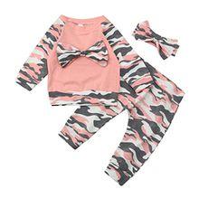 ❤️Kobay Neugeborenen Kleinkind Baby Mädchen Jungen Camouflage Bogen Tops Hosen Outfits Set Kleidung (Rosa, 70 / 6 Monat)