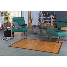 Bambusteppich NATURAL 165x230cm, 17mm Stege, breite Bordüre, massives Bambus | Bordürenteppich | Teppich | Bambusmatte | Wohnzimmer | Küche | Markenprodukt von DE-COmmerce | nachhaltig und ökologisch