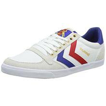 Hummel SLIMMER STADIL LOW, Unisex-Erwachsene Sneakers, Weiß (White/Blue/Red/Gum), 47 EU (12 Erwachsene UK)