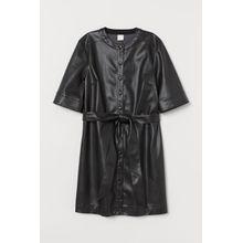 H & M - Kleid aus Lederimitat - Schwarz - Damen