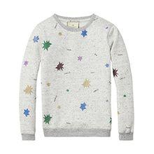 Scotch & Soda R'Belle Mädchen Glittered Star Sweatshirt, Grau (Grey Melange 606), 164 (Herstellergröße: 14)