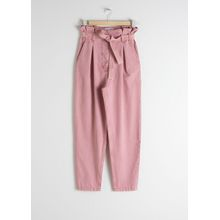 Tapered Paperbag Waist Trousers - Pink