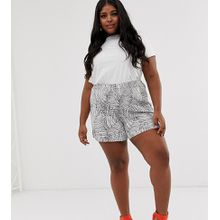 ASOS DESIGN Curve - Hosenrock-Shorts mit Palmen-Print - Mehrfarbig