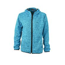 James & Nicholson Herren Sweatshirt Fleece Men's Knitted Hoody blau (Blue-Melange/Black) Large