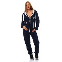 Hoppe Damen Jumpsuit Jogger Einteiler Jogging Anzug Trainingsanzug Overall (XL, Blau)