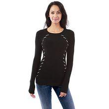 PattyBoutik Damen Crewneck trimmen gerippten Pullover (schwarz und grau 40/M)