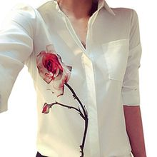 FEITONG Sexy Damen Rosen Blumen Drucken Langarm Bluse Turn Down Kragen Tops Chiffon Shirts (XXL)