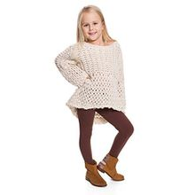 Hi! Mom WINTER KINDER LEGGINGS volle Länge Baumwolle Kinder Hose Thermische Material jedes Alter child28 - Braun, EU 128-134
