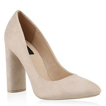 Damen Klassische Pumps High Heels Elegante Blockabsatz Schuhe 144777 Creme Basic 38 Flandell