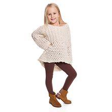 Hi! Mom WINTER KINDER LEGGINGS volle Länge Baumwolle Kinder Hose Thermische Material jedes Alter child28 - Braun, 122-128