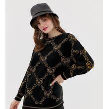 Monki – Schwarzer Oversize-Pullover mit goldenem Ketten- und Herzmuster