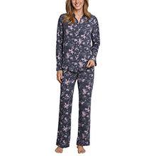 Schiesser Damen Zweiteiliger Schlafanzug Pyjama Lang, Blau (Blaugrau 808), 40 (Herstellergröße: 040)