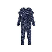 MANGO KIDS Pyjama 'Starry' navy / weiß